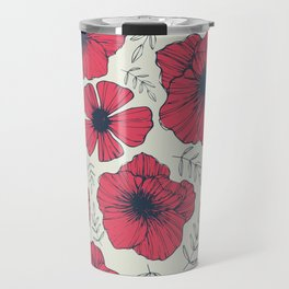 Raspberry Flowers Travel Mug