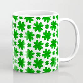 Four Leaf Clover Shamrock Green Vegetation Pattern Coffee Mug
