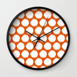 Persimmon Asian Moods Ikat Dots Wall Clock