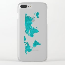 Turquoise Metallic Foil World Map Clear iPhone Case