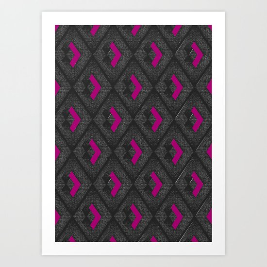 Geometric Pattern - Pink & Dark Gray Art Print