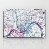 cincinnati iPad Cases featuring Cincinnati map by MapMapMaps.Watercolors