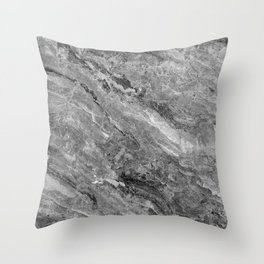 Grayscale Marble Throw Pillow