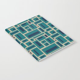 Geometric Rectangles in Navy, Teal and Tan 2 Notebook