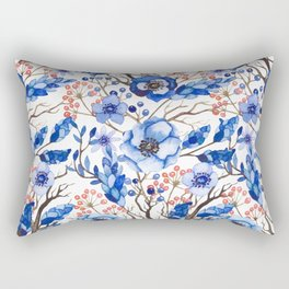 Hand painted navy blue pink watercolor winter floral Rectangular Pillow
