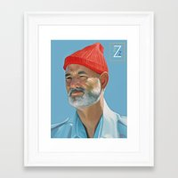 steve zissou Framed Art Prints featuring Steve Zissou by Brad Collins Art & Illustration