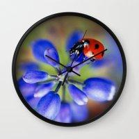 polka dot Wall Clocks featuring Polka Dot by Ekaterina La