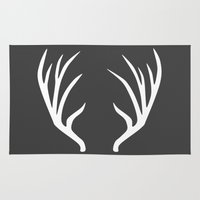 antlers Area & Throw Rugs featuring antlers by Amanda Nicole