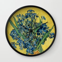 Still Life: Vase with Irises Against a Yellow Background Wall Clock