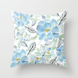 Blue flower garden watercolor Throw Pillow