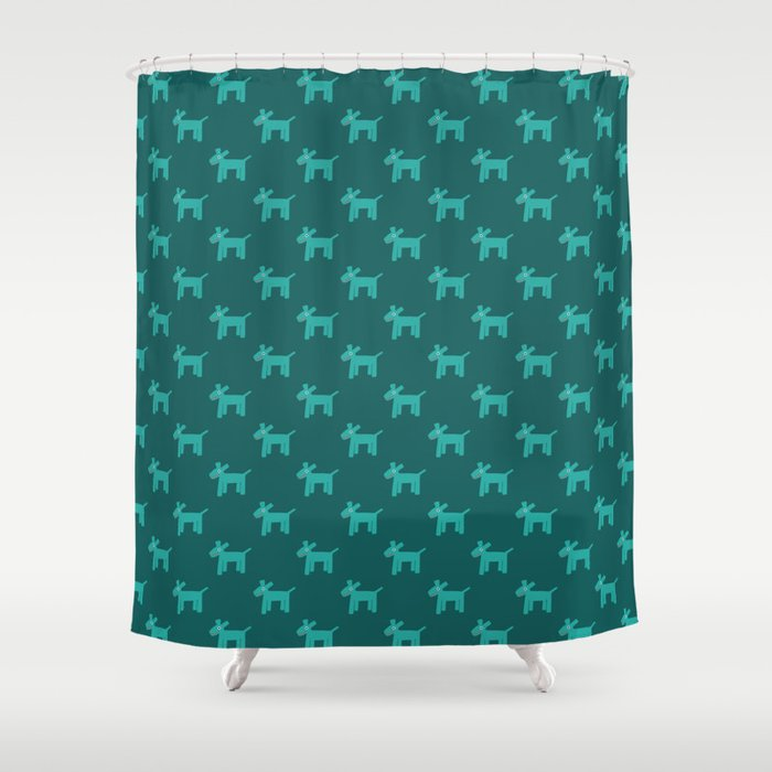 Dogs-Teal Shower Curtain
