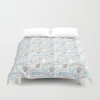 surf Duvet Covers featuring Surf by Zen and Chic