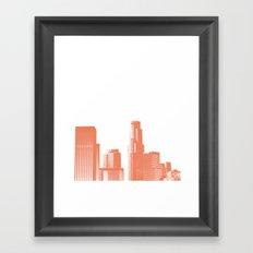 downtown Los Angeles skyline print, coral Framed Art Print