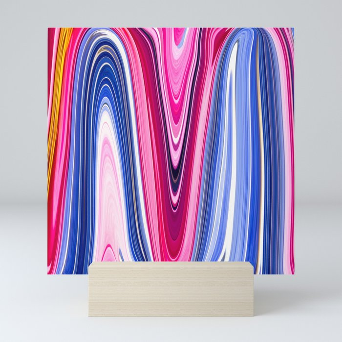Pink And Blue Abstract Waves Mini Art Print