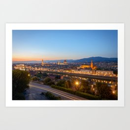 FLORENCE ITALY AT NIGHT PHOTO - EUROPE IMAGE - CITYSCAPE PHOTOGRAPHY Art Print