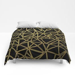 Abstract Blocks Gold Comforters