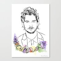 louis tomlinson Canvas Prints featuring Louis Tomlinson by Mariam Tronchoni