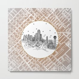 Dallas, Texas City Skyline Illustration Drawing Metal Print