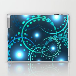 Metallic openwork rings in blue shades on a blue background. Laptop & iPad Skin