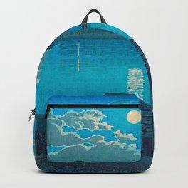 Vintage Japanese Woodblock Print Fishing Village At Night Fishing Boat Moonlight Backpack