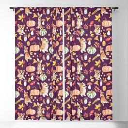Welsh Corgi Dog Breed Fall Party -Cute Corgis Celebrate Autumn With Pumpkins Mushrooms Leaves - Dark Purple  Blackout Curtain