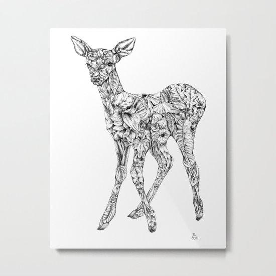 Leafy Deer Metal Print