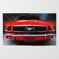 mustang Area & Throw Rugs featuring Mustang Sally by Cozmic Photos