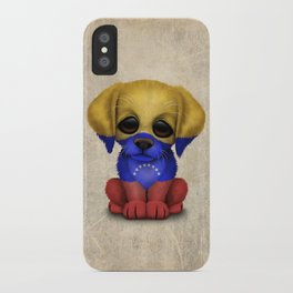 Cute Puppy Dog with flag of Venezuela iPhone Case