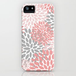 Floral Pattern, Coral Pink and Gray iPhone Case