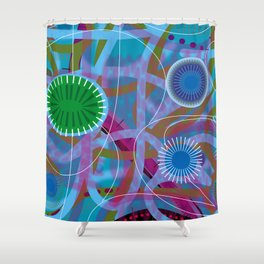 Blue Firefly Shower Curtain