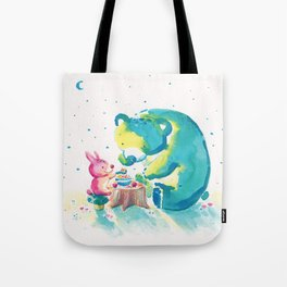 Bear with Rabbit - My Beary Berries Friend Tote Bag