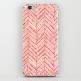Neon Grapefruit Herringbone iPhone Skin