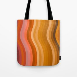 Groovy Wavy Lines in Retro 70s Colors Tote Bag