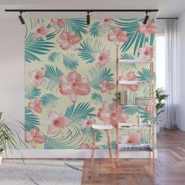 Tropical Flowers Palm Leaves Finesse #7 #tropical #decor #art #society6 Wall Mural