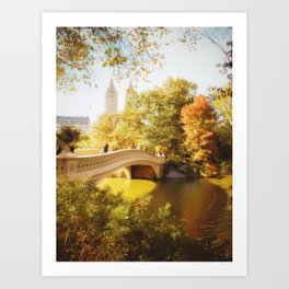 New York City - Autumn - Central Park's Bow Bridge Art Print