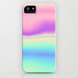 Holographic Foil Colorful Pattern Abstract Pastel Neon Multi Colored Soft Blurry Texture iPhone Case