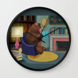 Mister Bear Loves His Books Wall Clock