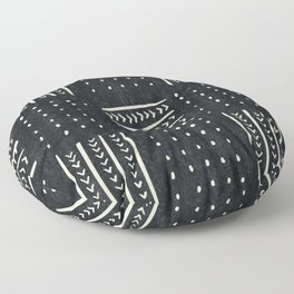 Mud cloth in black and white Floor Pillow