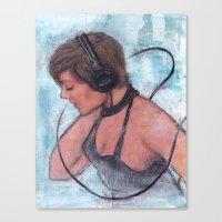headphones Canvas Prints featuring Headphones by Colleen Moran