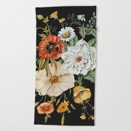 Wildflower Bouquet on Charcoal Beach Towel