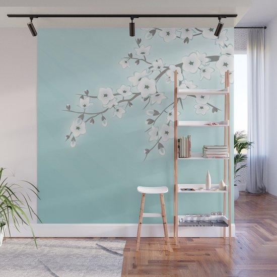 Cherry Blossoms Mint White by ninabaydur