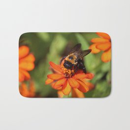 Bumblebee On Zinnia Bath Mat