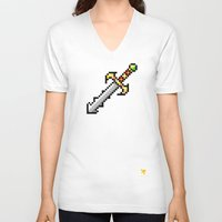 sword V-neck T-shirts featuring Sword by HOVERFLYdesign