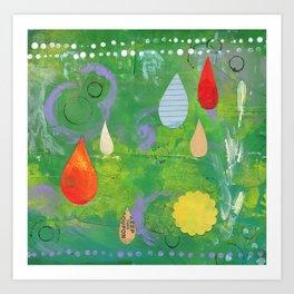 Raindrops in Green Art Print