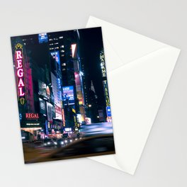 Neon Signs in New York, USA / Night City Series Stationery Cards
