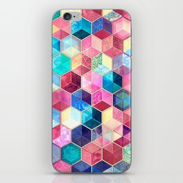 Topaz & Ruby Crystal Honeycomb Cubes iPhone Skin