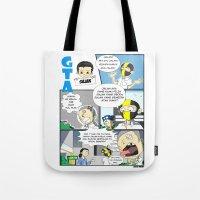 gta Tote Bags featuring GTA - Comic strip by Azlee Mahat