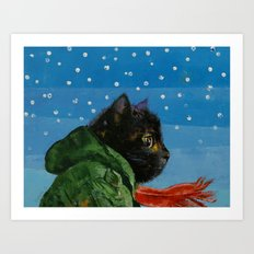 Winter Kitten Art Print
