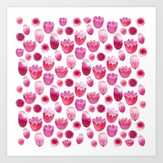 Fancy Pink Flowers Art Print