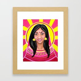 Indian Woman and the Sun - Acrylic Portrait Painting Framed Art Print